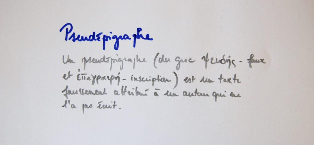 Pseudépigraphe, définition